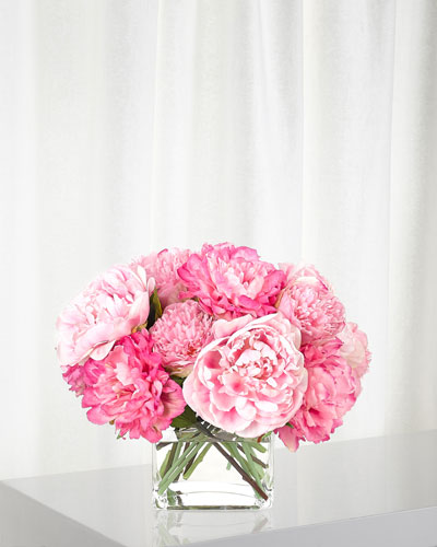 Pink Peony Arrangement in Glass Cube
