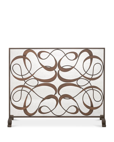 Dark Gold and Brown Iron and Tole Swirl Single Panel Fire Screen with Mesh Backing