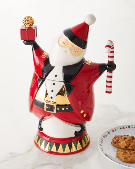 Blue Sky Santa Cookie Jar