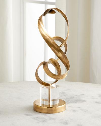 Antiqued Brass Sculptural Ribbons II