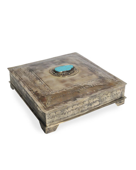 Large Stamped Box with Turquoise Trim