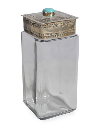 Large Glass Canister with Stamped Lid