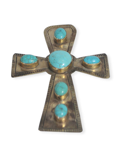 Large Stamped Cross with Turquoise Trim