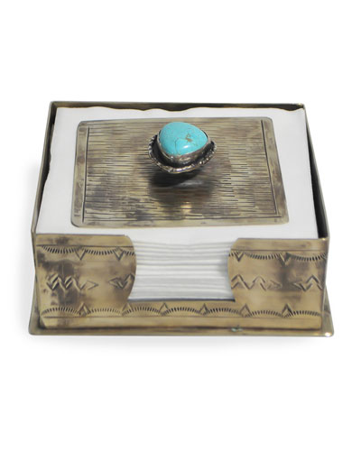 Stamped Cocktail Napkin Holder with Turquoise Trim