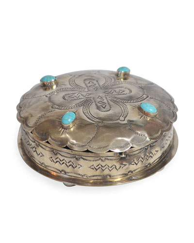Stamped Round Box with Turquoise Trim
