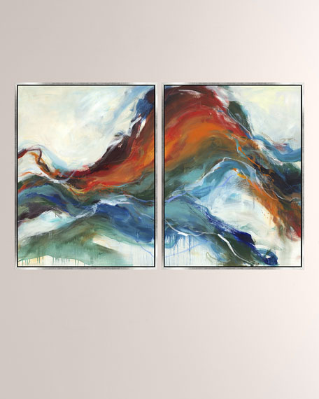 Emotion Flow Giclee On Canvas Wall Art With Frame, Set of 2