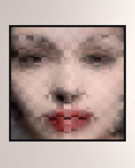 Pixelism Face Giclee Printed On Canvas With Frame