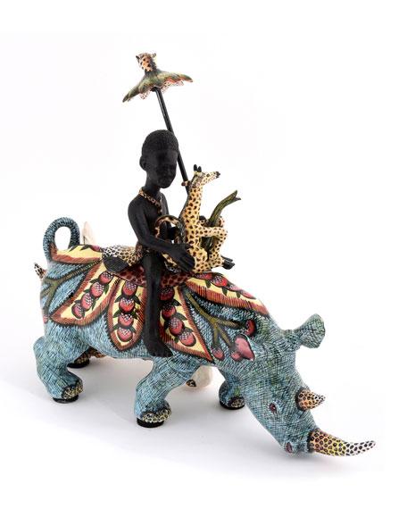 Rhino Rider Sculpture