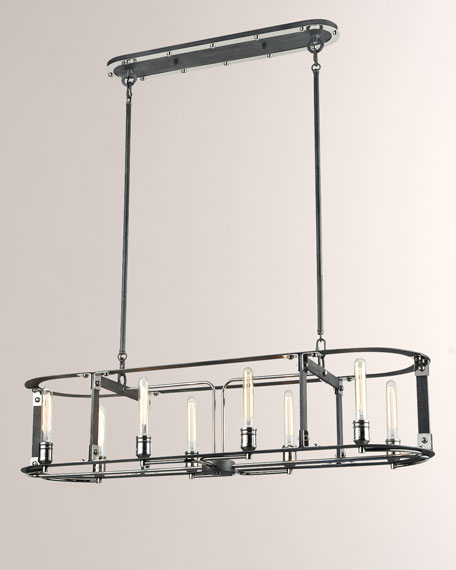 Riveted Plate 8-Light Billiard/Island Pendant Light in Silverdust Iron/Polished Nickel