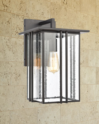 Radnor 1-Light Outdoor Sconce in Matte Black with Seedy Glass