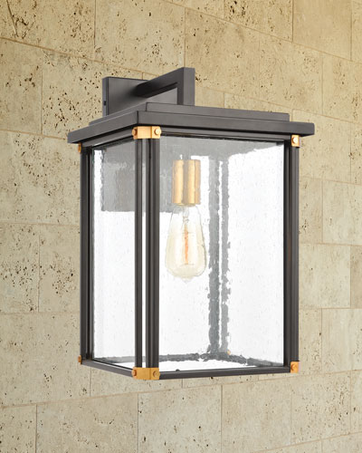 Vincentown 1-Light Outdoor Sconce  in Matte Black with Seedy Glass