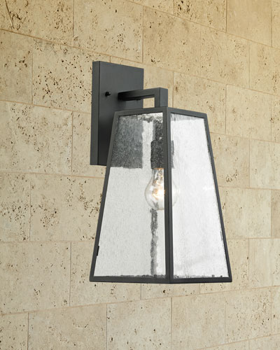 Meditterano Collection 1-Light Outdoor Sconce in Textured Matte Black
