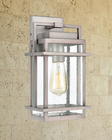 Breckenridge 1-Light Outdoor Sconce in Weathered Zinc with Seedy Glass