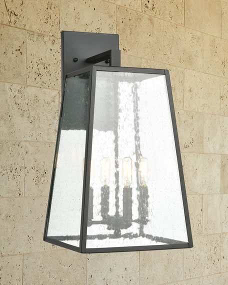 Meditterano 4-Light Outdoor  Sconce in Charcoal with Seedy Glass