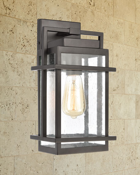 Breckenridge 1-Light Outdoor Sconce in Matte Black with Seedy Glass