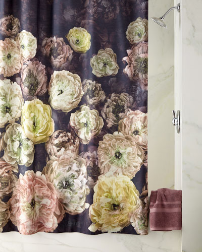 Le Poeme de Fleurs Midnight Shower Curtain