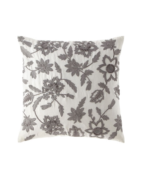 "Linen Floral Embroidered Pillow, 22""Sq."