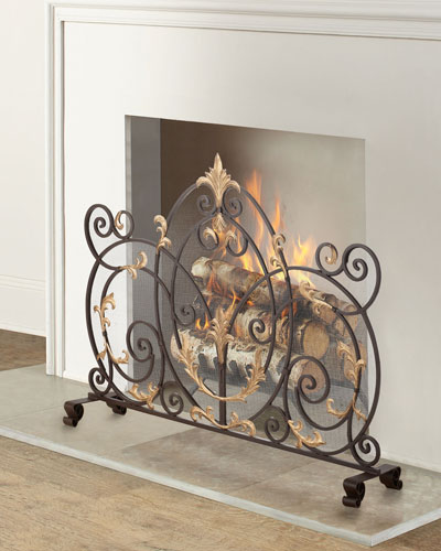 Dark Brown Iron Scroll Single Panel Fireplace Screen