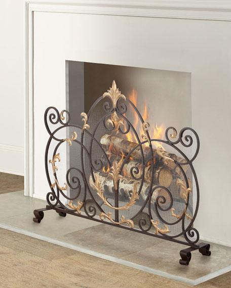 Dark Brown Iron Scroll Single Panel Fireplace Screen
