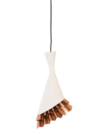 Ruffle Pendant, White/Copper