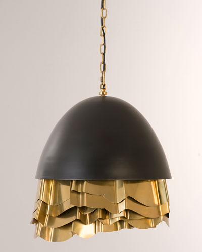 Ruffle Chandelier  Black/Brass