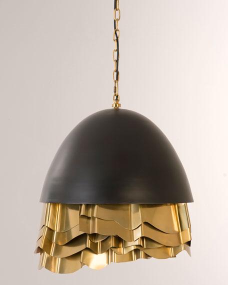 Ruffle Chandelier, Black/Brass