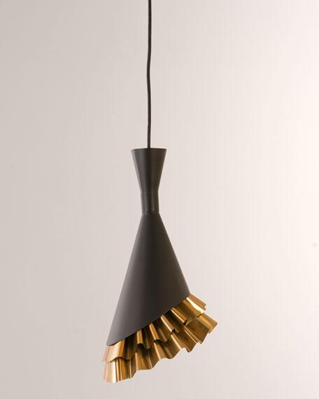 Ruffle Pendant, Black/Brass