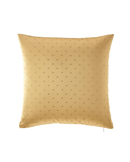 Rose de Rescht Gold Rhinestone Square Pillow
