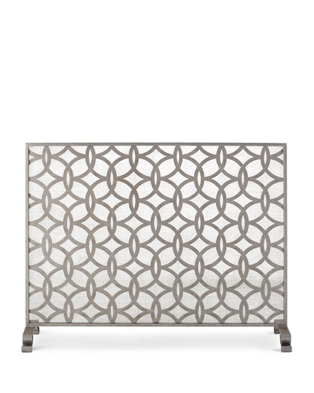 Circle & Diamond Geometric Single Panel Fireplace Screen
