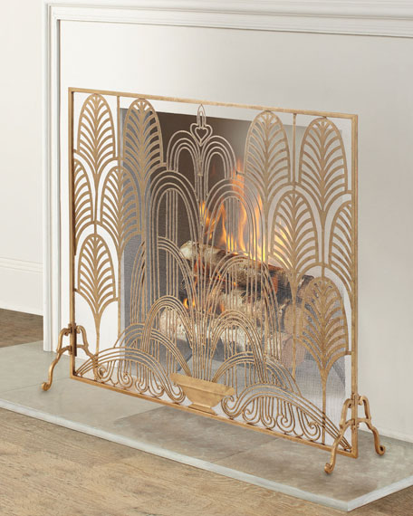 Classic Art Deco Single Panel Fireplace Screen