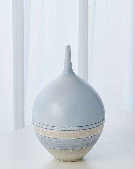 Global Views Horizontal Striation Vase - Pastel Blue