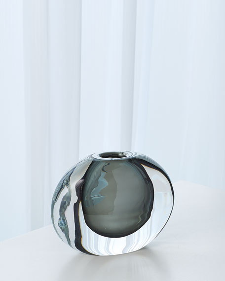 Global Views Off Set Round Vase - Gray