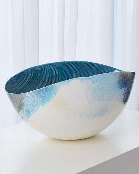 Ivory Turquoise Feather Swirl Oval Bowl - Large