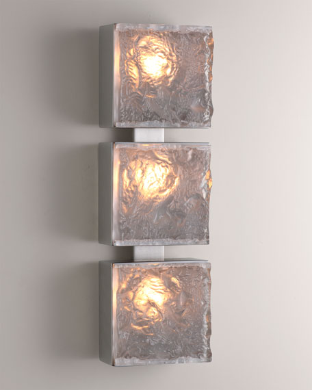 Triple Cube Sconce - Satin Nic