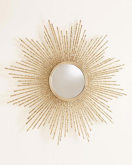 Square Beaded Burst Mirror - Brass - Large
