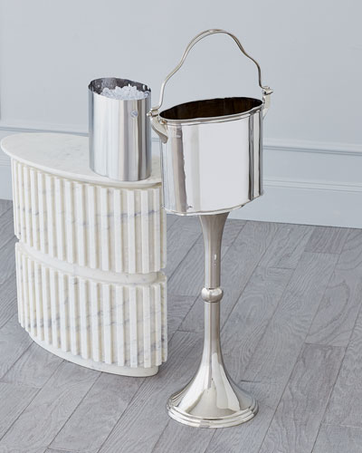 Footed Ice Bucket with Stand - Nickel