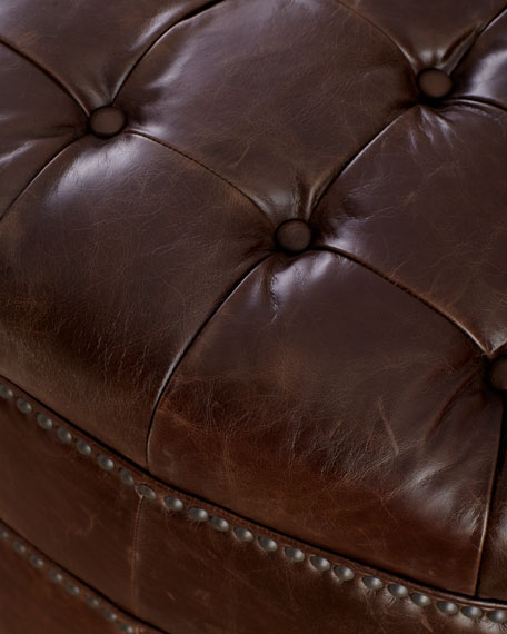Brooks Tufted Leather Ottoman