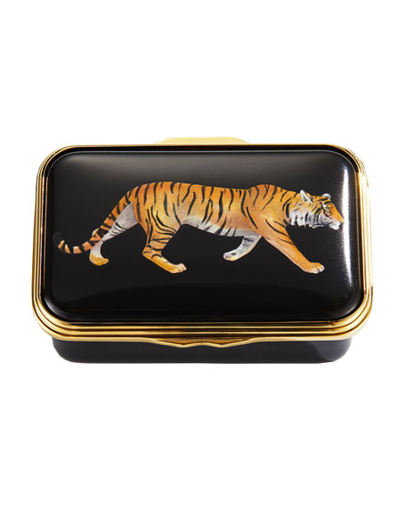 Halcyon Days Magnificent Wildlife Tiger Enamel Box