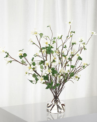 White Dogwood Branch Arrangement in Glass Cylinder