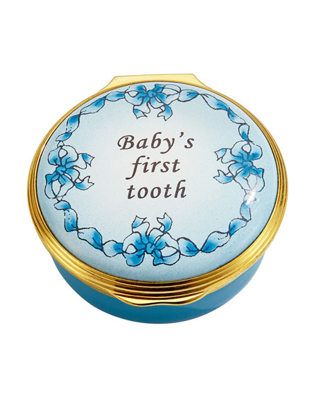 Blue Baby's First Tooth Enamel Box