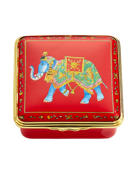 Ceremonial Indian Elephant Enamel Box