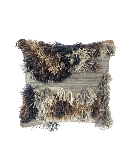 "Earth Tones Scattered Fringe Pillow, 22""Sq."