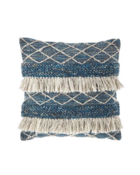 "Blue Fringe Pillow, 22""Sq."