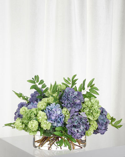 Blue Green Hydrangea Snowball in Glass Oval Vase