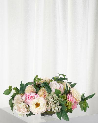 Cream Pink Green Peony Hydrangea in Glass Bowl