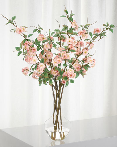 Pink Apple Blossom in Glass Vase