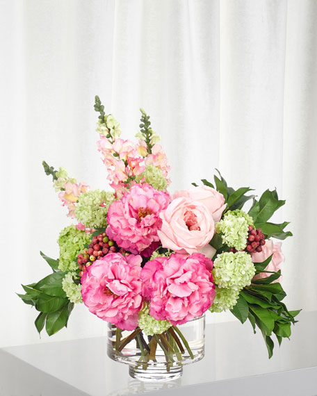 Pink Fuchsia Snapdragon Peony Arrangement in Glass Vase