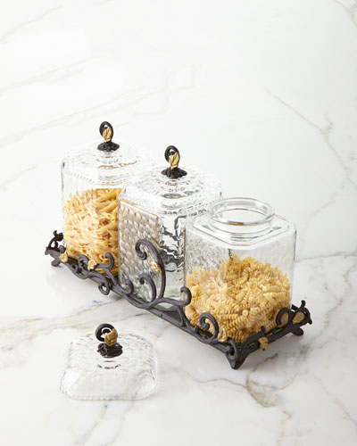 Textured Glass Canisters  Set of 3