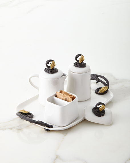 G G Collection White Stoneware Cream and Sugar