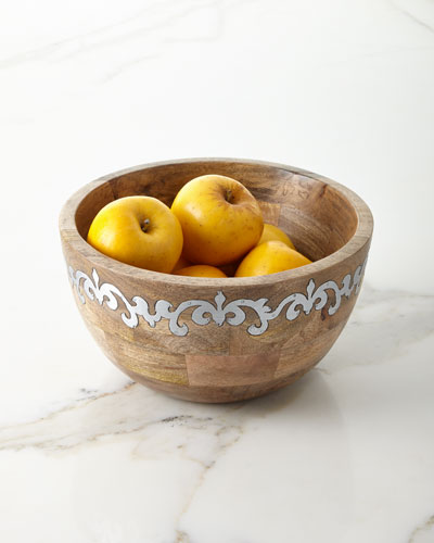Mango Wood Tall Serving Bowl with Metal Inlay